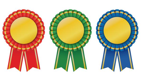 Gold medal rosette ribbon