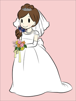 A bride with flowers