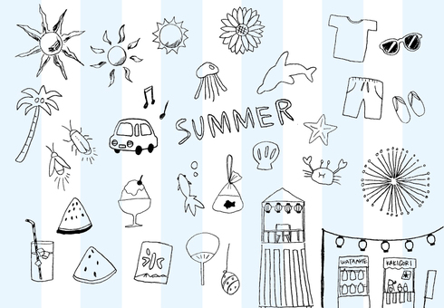 Handwritten summer illustration set