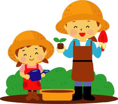 園藝的母親女孩
