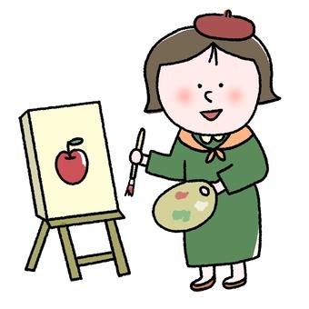 그림을 그리는 여성