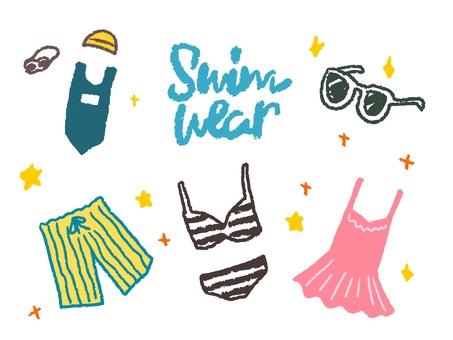Hand drawn illustration of a simple swimwear