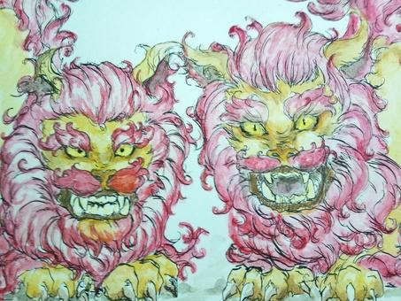 Shisa watercolor painting