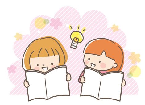讀一本圖畫書的女孩