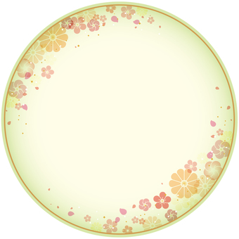 Japanese style background (yen · plum and chrysanthemum) green