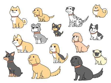 ゆるい犬セット(赤い首輪)