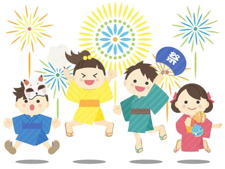 Illustration of summer _ children _ fireworks