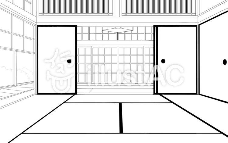 線画背景①「和室」のイラスト