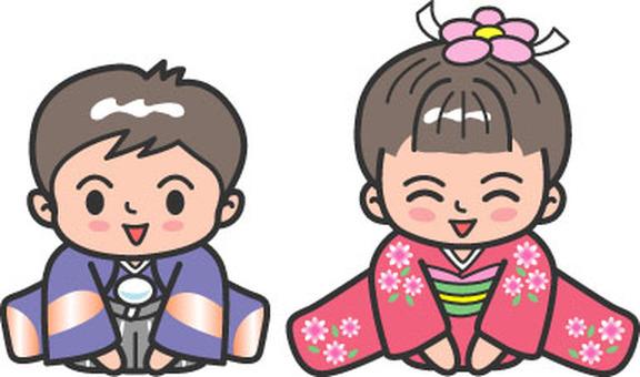 New Year Children Kimono Sitting 2