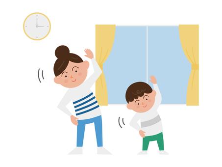 Parents and children exercising indoors