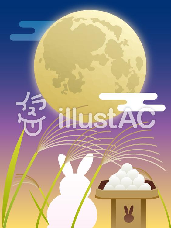 【フリーイラスト素材】 お月見