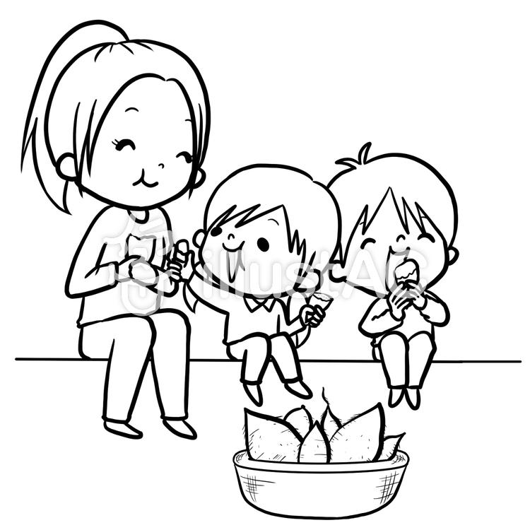薩摩芋掘り食べる男の子女の子線画塗り絵イラスト No 862948無料
