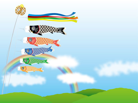 Koinobori and rainbow