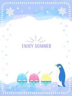 Summer watercolor penguin frame 6