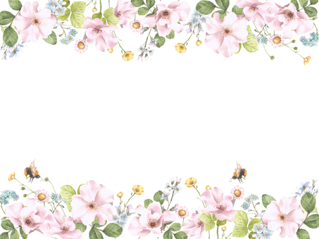 Flower frame 178 - Flower frame of wild rose and forget grass