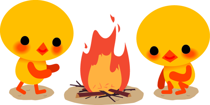 Chick and bonfire