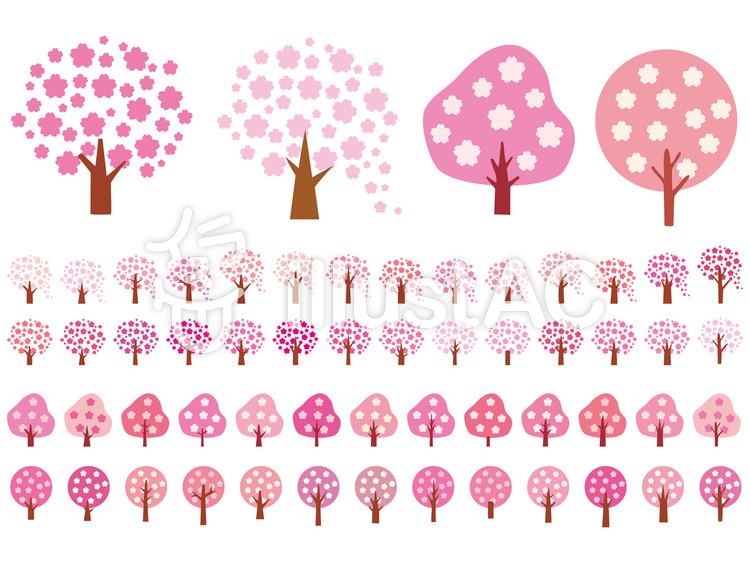 桜アイコン木ピンク春シルエットシンプル絵のイラスト