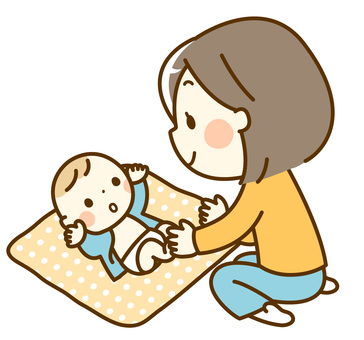 Baby and mama _ changing diapers