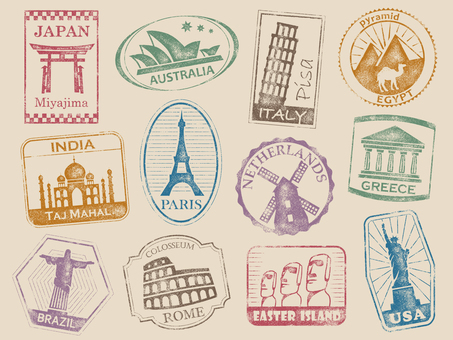 World travel stamp 001