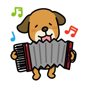 一隻狗在拉手風琴