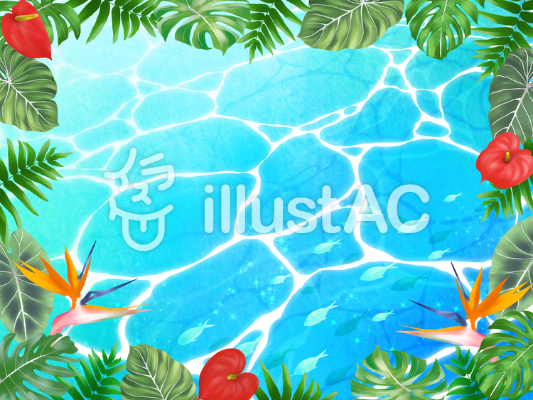 【フリーイラスト素材】熱帯植物と海(横)・2