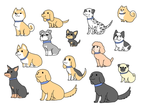 ゆるい犬セット(青い首輪)