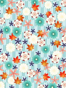 春と秋の花の和風背景素材/青