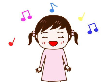 笑顔で歌を歌う少女