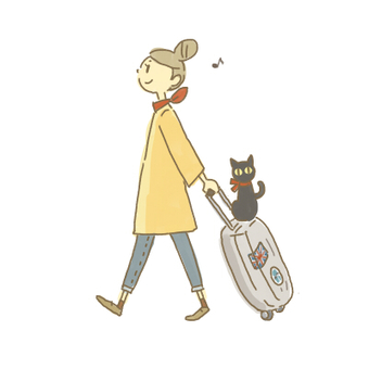 旅行に行く女性