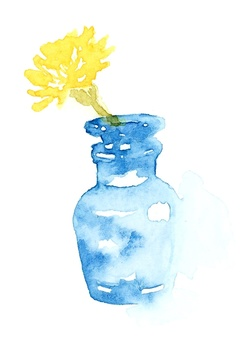Watercolor cut of dandelion
