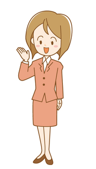 A woman in the suit to show 1