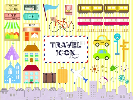 Cute travel icon set