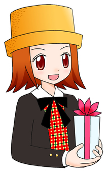 A girl with a present