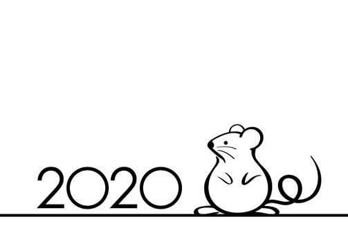 New Year Card Template with 2020 Child Year Sign