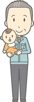 Middle-aged man work clothes - hug - full body