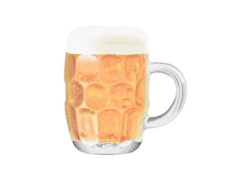 A beer poured into a mug
