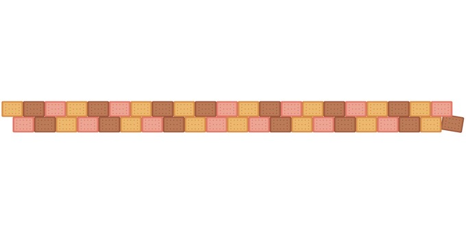 Three-color biscuit border: cocoa strawberry