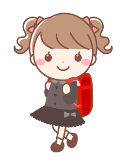 First grader of primary school entrance ceremony (new student · girl)