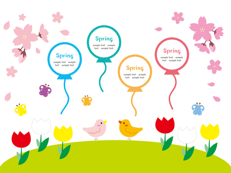 Spring illustration material with small birds, flowers and butterflies