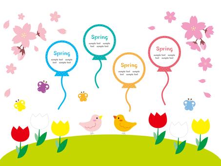 작은 새와 꽃과 나비 봄 일러스트 소재