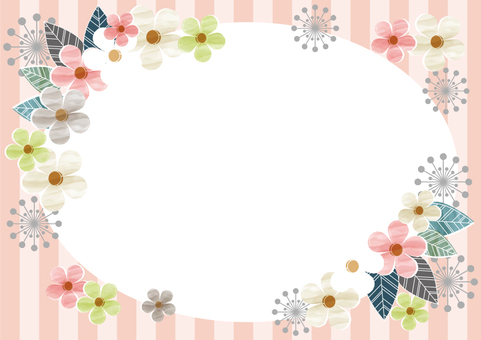 Round frame of flowers and sima pink Pink