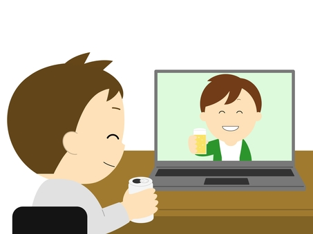 A man having an online drinking party on a laptop