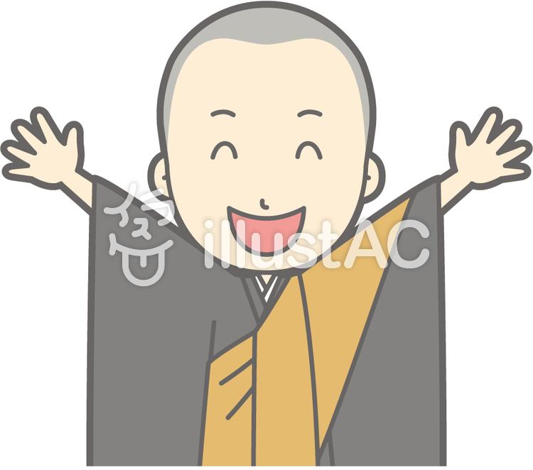 僧侶若者a-バンザイ-バストのイラスト