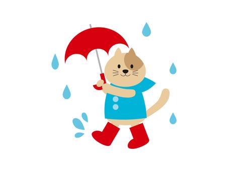 Illustration of a cat holding an umbrella