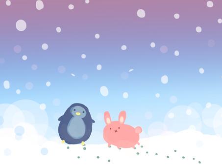눈 오는 날의 펭귄과 토끼