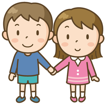 Elementary school boy and girl holding hands