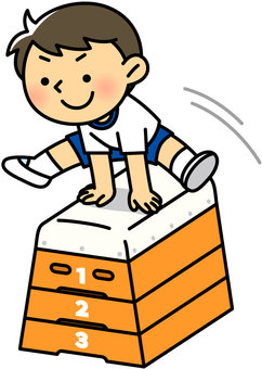 A boy leaping a jumping box