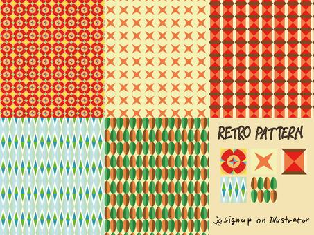 복고풍 패턴 세트