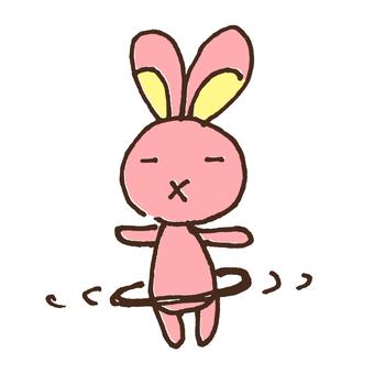 かわいいフラフ―プを回すウサギのイラスト