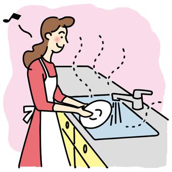 炊事する女性